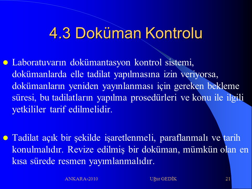 4.3 Doküman Kontrolu