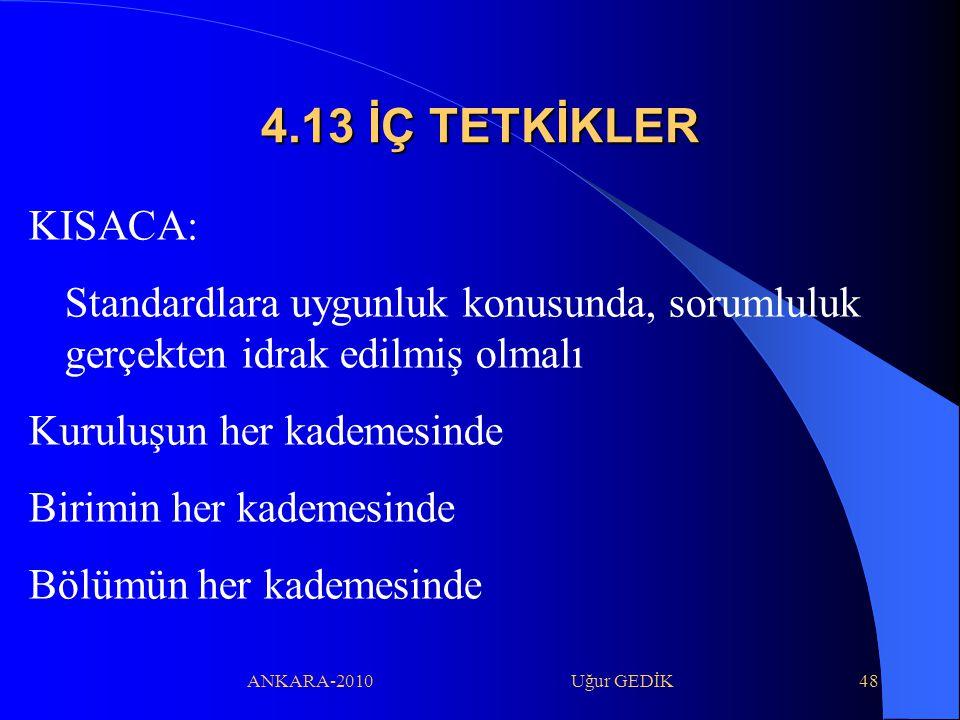 4.13 İÇ TETKİKLER KISACA: Standardlara uygunluk konusunda, sorumluluk gerçekten idrak edilmiş olmalı.