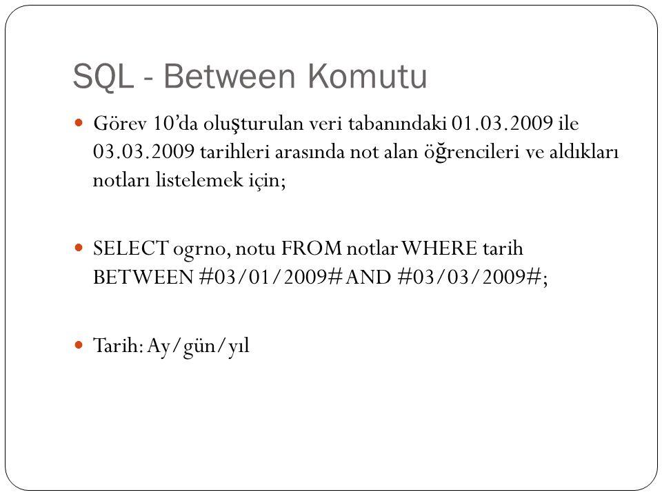 SQL - Between Komutu