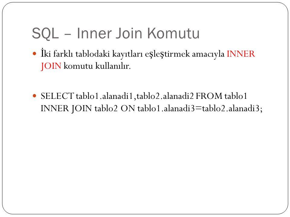 SQL – Inner Join Komutu İki farklı tablodaki kayıtları eşleştirmek amacıyla INNER JOIN komutu kullanılır.