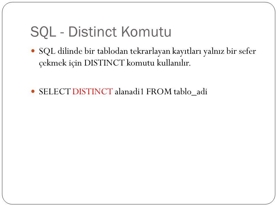 SQL - Distinct Komutu SQL dilinde bir tablodan tekrarlayan kayıtları yalnız bir sefer çekmek için DISTINCT komutu kullanılır.