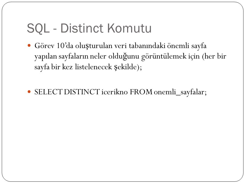 SQL - Distinct Komutu