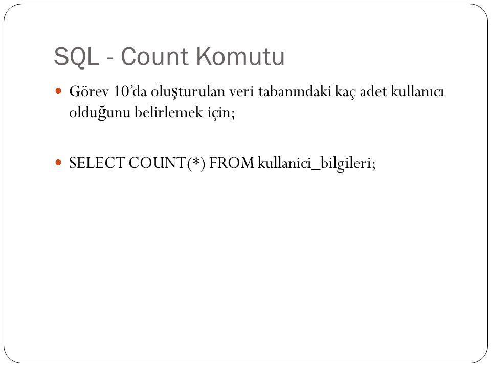 SQL - Count Komutu Görev 10'da oluşturulan veri tabanındaki kaç adet kullanıcı olduğunu belirlemek için;