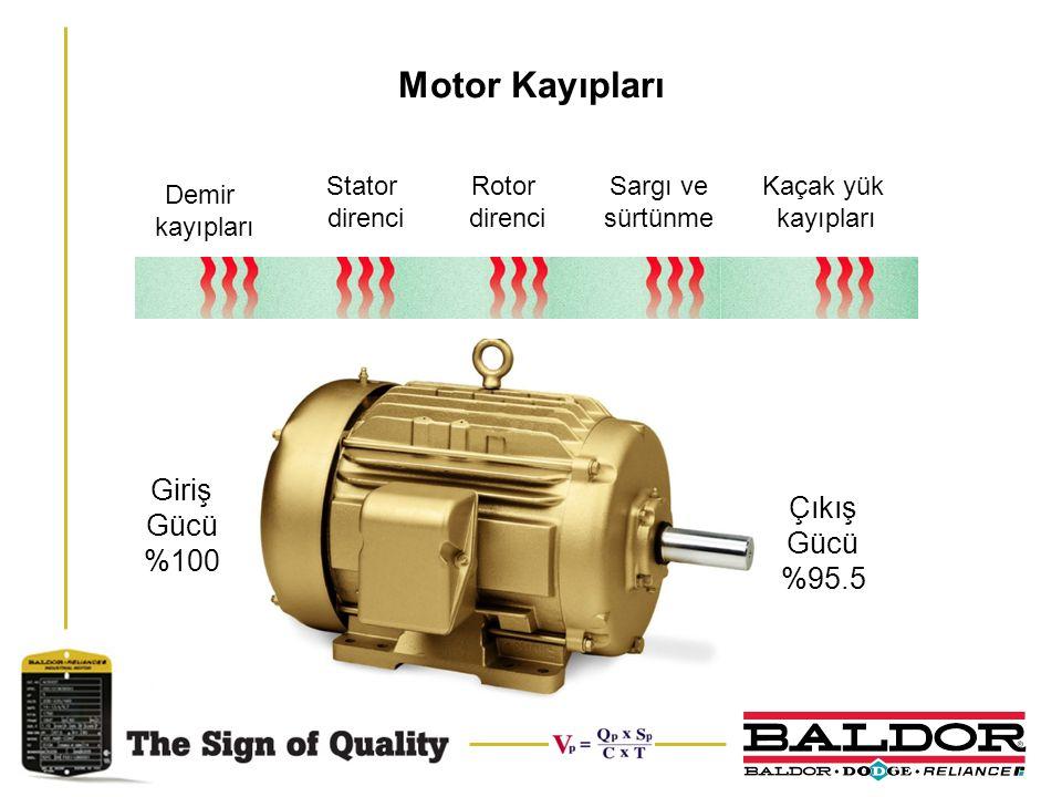 Motor Kayıpları Giriş Gücü %100 Çıkış Gücü %95.5 Stator direnci Rotor