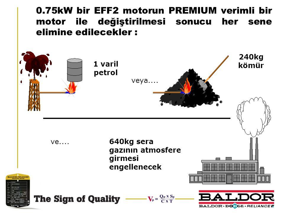 0.75kW bir EFF2 motorun PREMIUM verimli bir motor ile değiştirilmesi sonucu her sene elimine edilecekler :