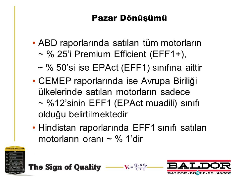 ~ % 50'si ise EPAct (EFF1) sınıfına aittir