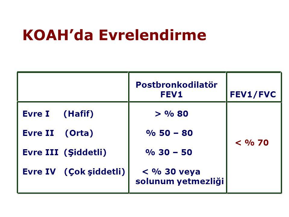 KOAH'da Evrelendirme Postbronkodilatör FEV1 FEV1/FVC