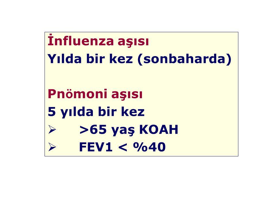 İnfluenza aşısı Yılda bir kez (sonbaharda) Pnömoni aşısı 5 yılda bir kez >65 yaş KOAH FEV1 < %40