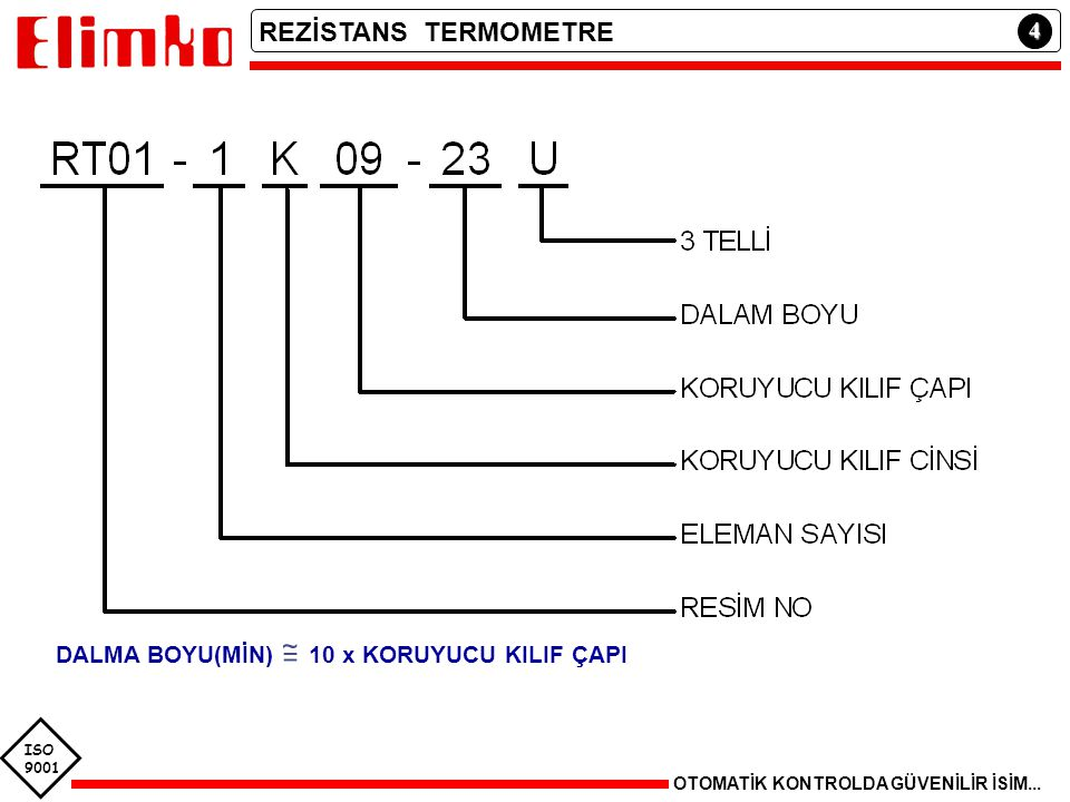 REZİSTANS TERMOMETRE 4 DALMA BOYU(MİN) 10 x KORUYUCU KILIF ÇAPI