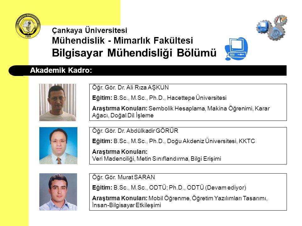 Çankaya Üniversitesi Mühendislik - Mimarlık Fakültesi Bilgisayar Mühendisliği Bölümü