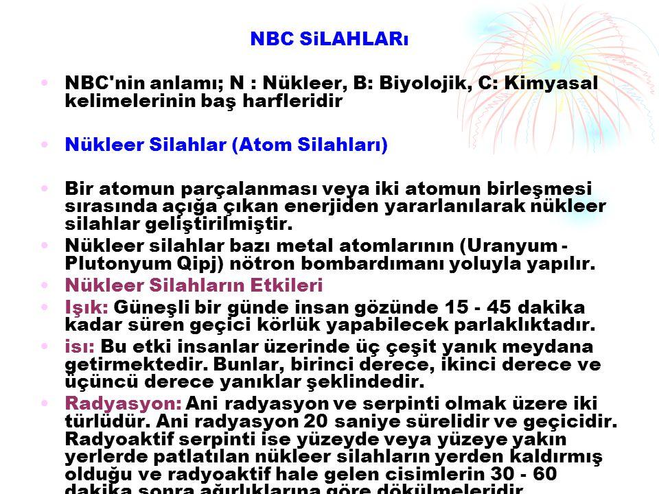 NBC SiLAHLARı NBC nin anlamı; N : Nükleer, B: Biyolojik, C: Kimyasal kelimelerinin baş harfleridir.