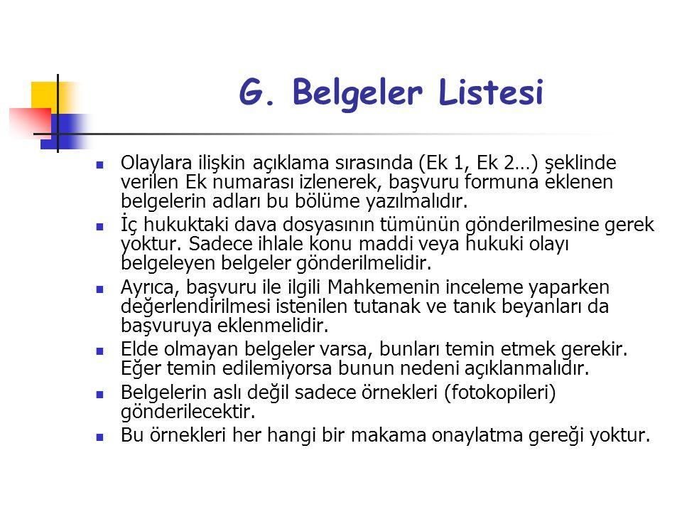 G. Belgeler Listesi