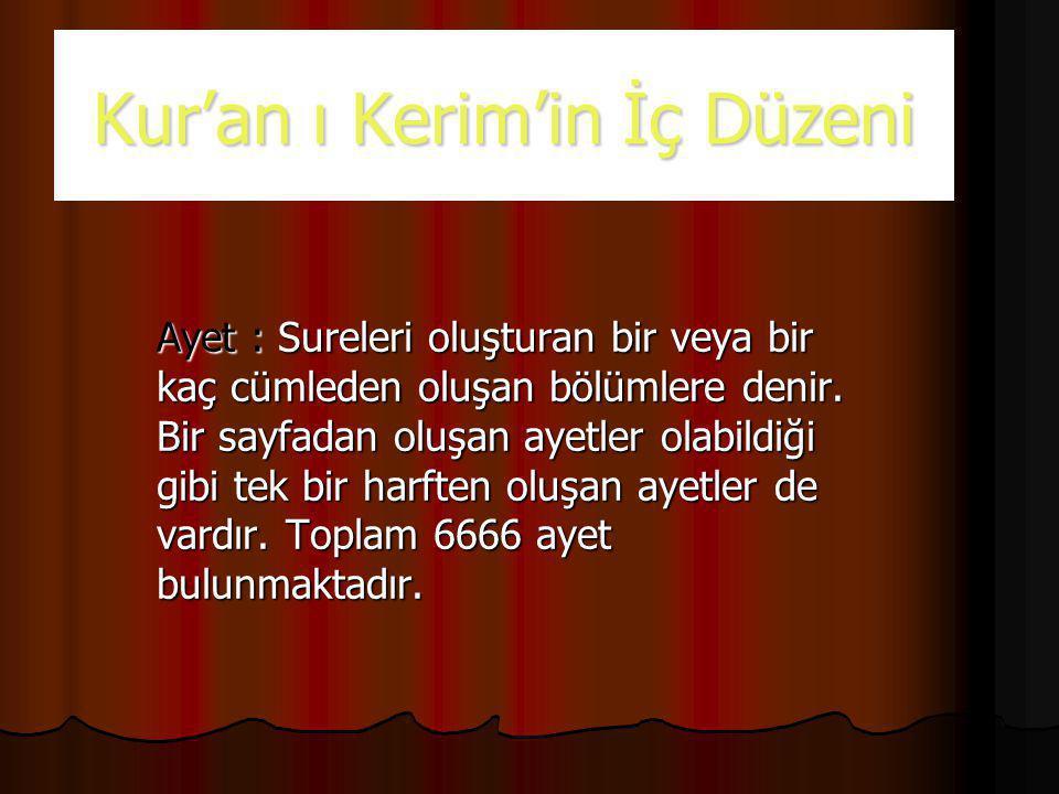 Kur'an ı Kerim'in İç Düzeni