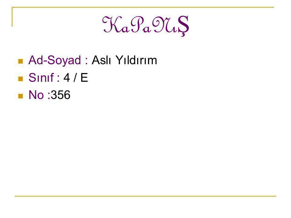 KaPaNıŞ Ad-Soyad : Aslı Yıldırım Sınıf : 4 / E No :356