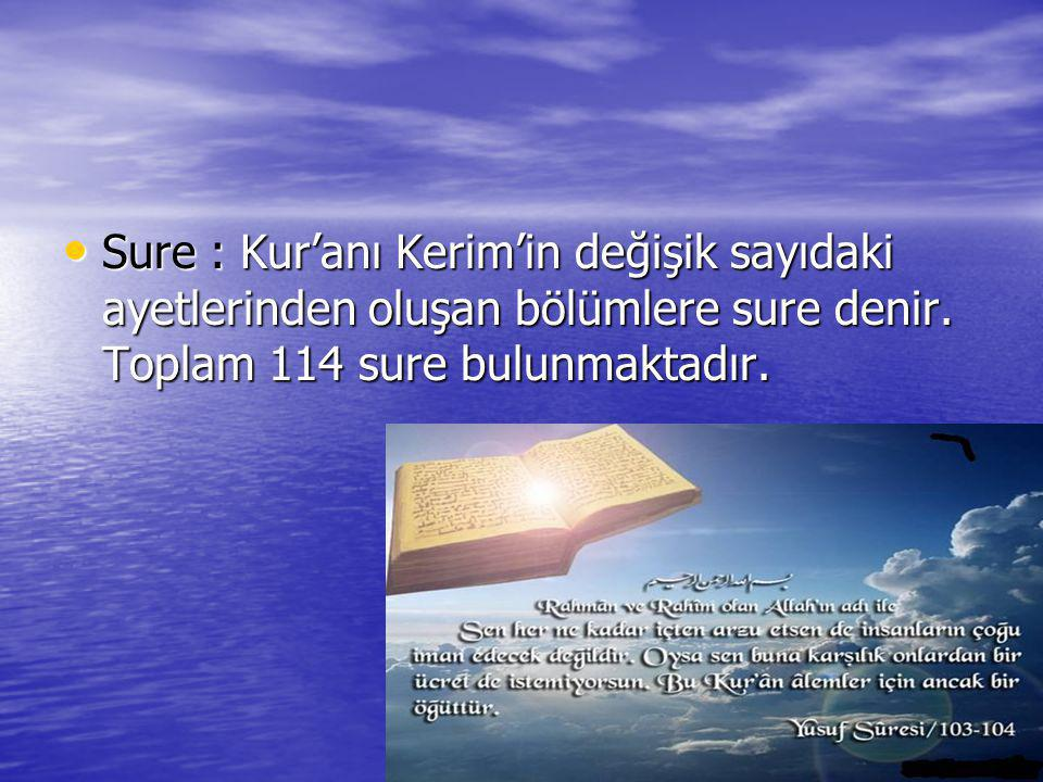 Sure : Kur'anı Kerim'in değişik sayıdaki ayetlerinden oluşan bölümlere sure denir.