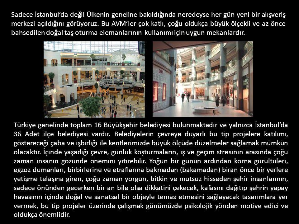 Sadece İstanbul'da değil Ülkenin geneline bakıldığında neredeyse her gün yeni bir alışveriş merkezi açıldığını görüyoruz. Bu AVM'ler çok katlı, çoğu oldukça büyük ölçekli ve az önce bahsedilen doğal taş oturma elemanlarının kullanımı için uygun mekanlardır.