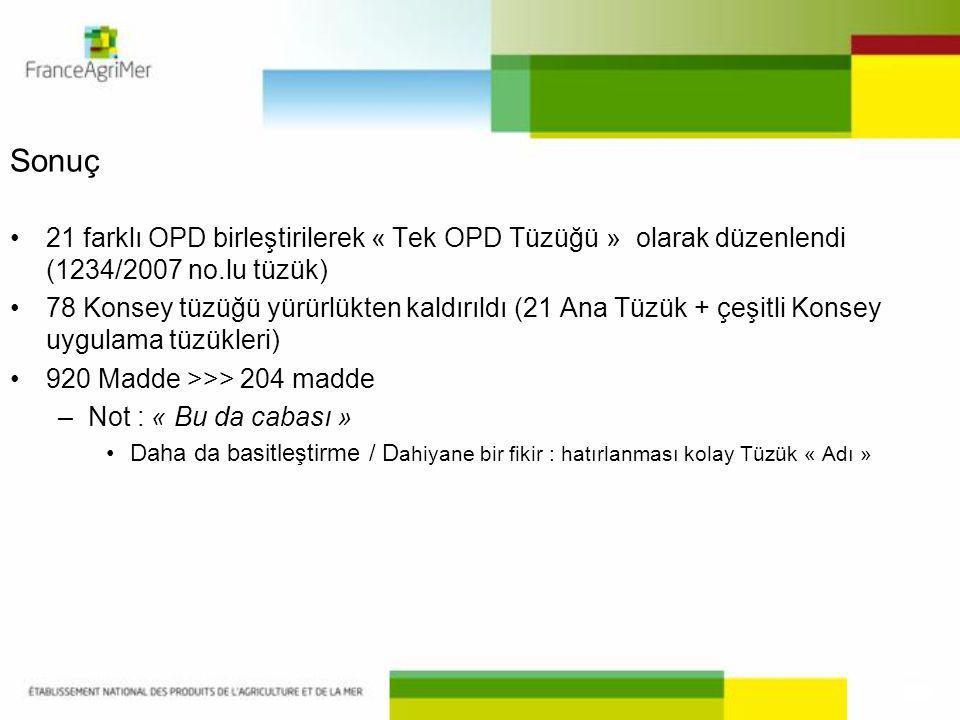 Sonuç 21 farklı OPD birleştirilerek « Tek OPD Tüzüğü » olarak düzenlendi (1234/2007 no.lu tüzük)