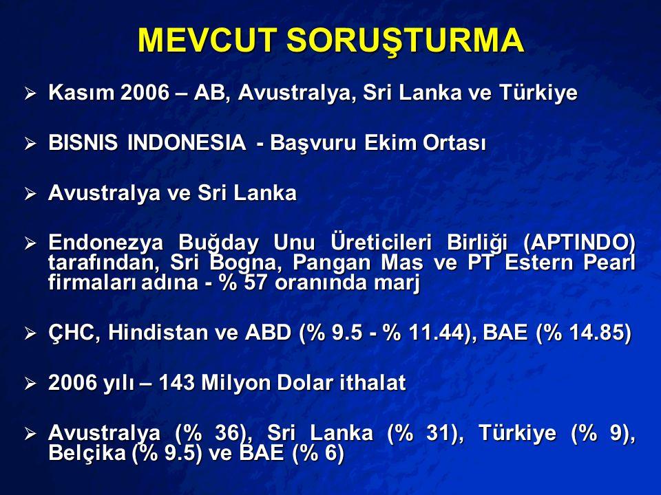 MEVCUT SORUŞTURMA Kasım 2006 – AB, Avustralya, Sri Lanka ve Türkiye