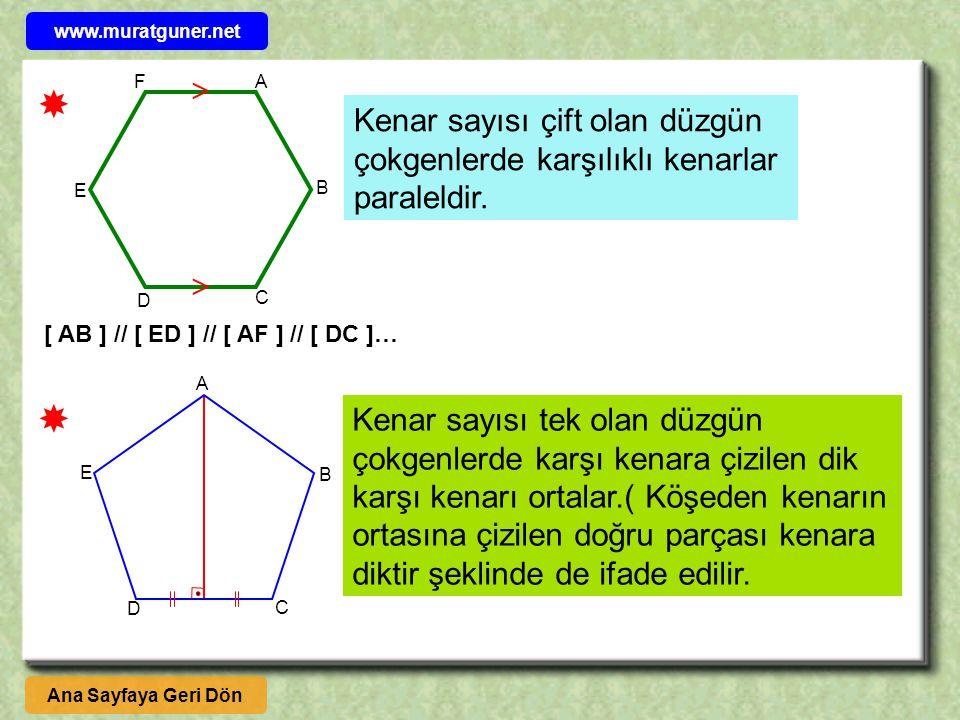 www.muratguner.net F.  A.  Kenar sayısı çift olan düzgün çokgenlerde karşılıklı kenarlar paraleldir.