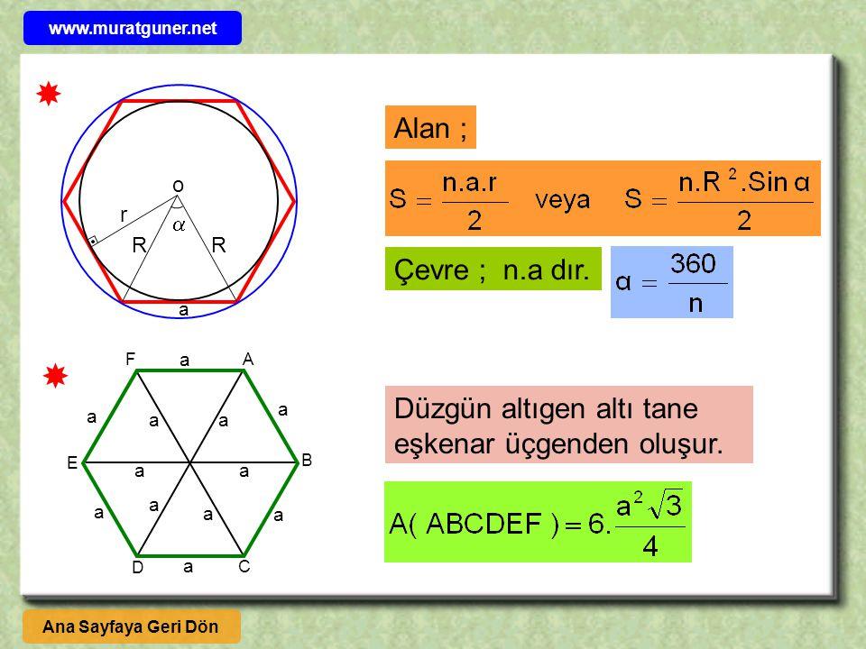www.muratguner.net  Alan ; o. r.  R. R. Çevre ; n.a dır. a. F. a.  A. Düzgün altıgen altı tane eşkenar üçgenden oluşur.