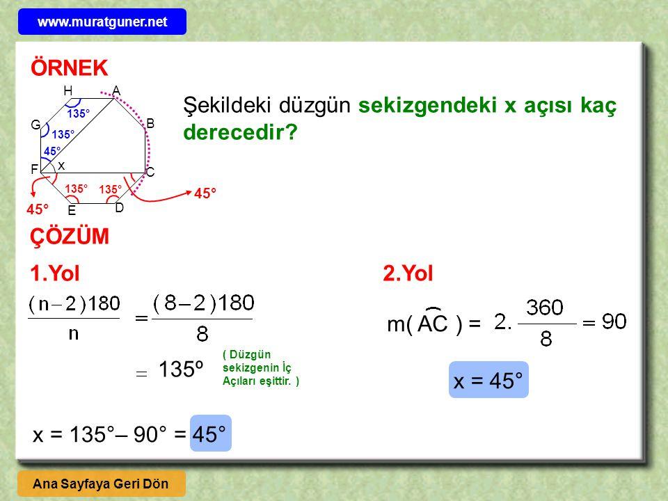 Şekildeki düzgün sekizgendeki x açısı kaç derecedir