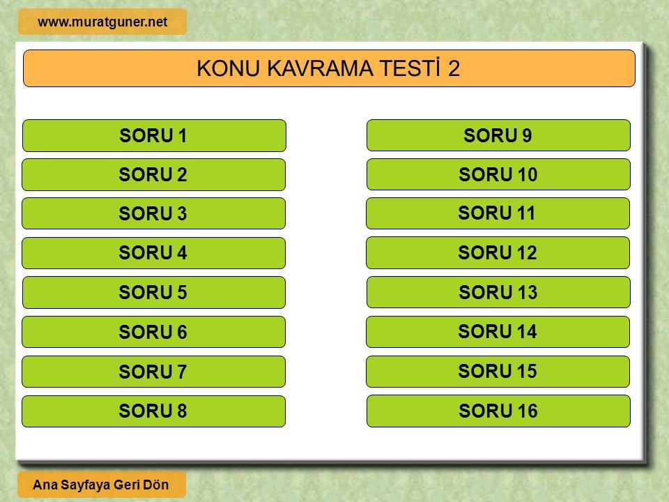 KONU KAVRAMA TESTİ 2 SORU 1 SORU 9 SORU 2 SORU 10 SORU 3 SORU 11