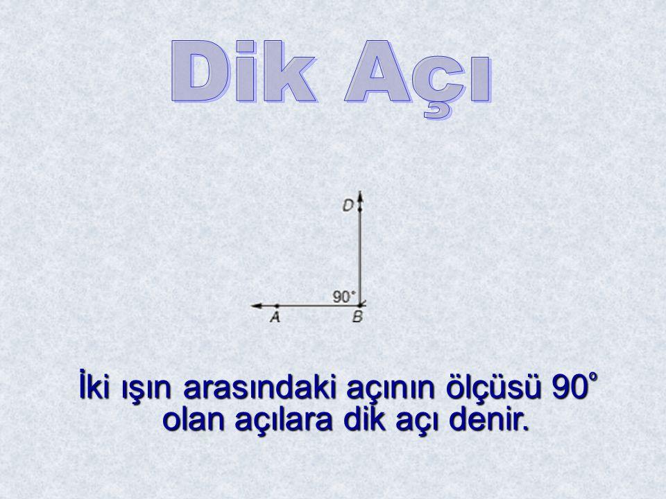 İki ışın arasındaki açının ölçüsü 90º olan açılara dik açı denir.