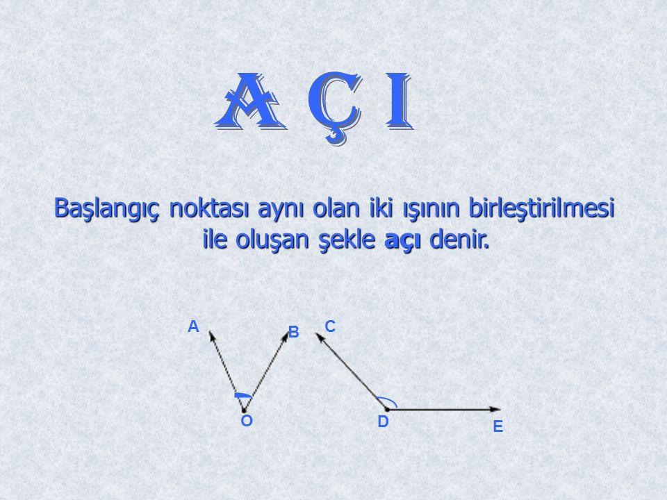 AçI Başlangıç noktası aynı olan iki ışının birleştirilmesi ile oluşan şekle açı denir. D E A O B C