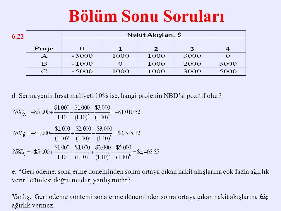 Bölüm Sonu Soruları 6.22. d. Sermayenin fırsat maliyeti 10% ise, hangi projenin NBD'si pozitif olur