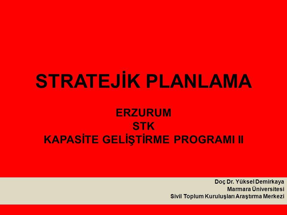 STRATEJİK PLANLAMA ERZURUM STK KAPASİTE GELİŞTİRME PROGRAMI II