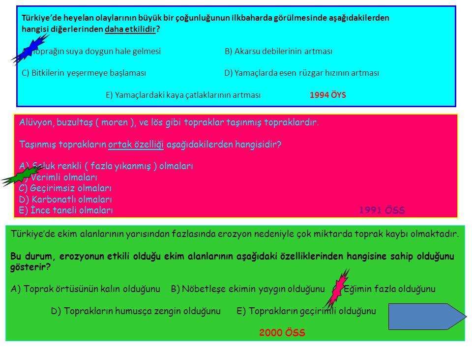 Türkiye'de heyelan olaylarının büyük bir çoğunluğunun ilkbaharda görülmesinde aşağıdakilerden