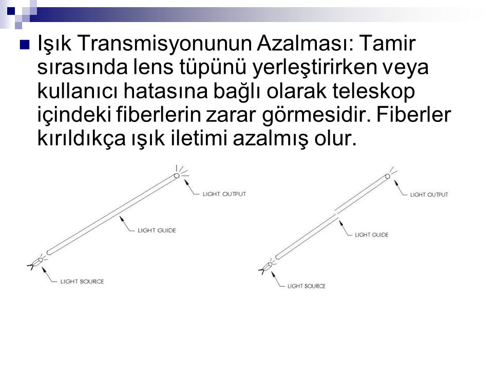 Işık Transmisyonunun Azalması: Tamir sırasında lens tüpünü yerleştirirken veya kullanıcı hatasına bağlı olarak teleskop içindeki fiberlerin zarar görmesidir.