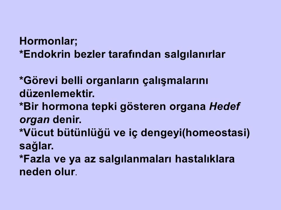 Hormonlar; *Endokrin bezler tarafından salgılanırlar. *Görevi belli organların çalışmalarını düzenlemektir.