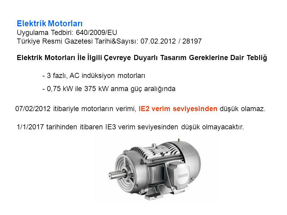 Elektrik Motorları Uygulama Tedbiri: 640/2009/EU Türkiye Resmi Gazetesi Tarihi&Sayısı: 07.02.2012 / 28197 Elektrik Motorları İle İlgili Çevreye Duyarlı Tasarım Gereklerine Dair Tebliğ