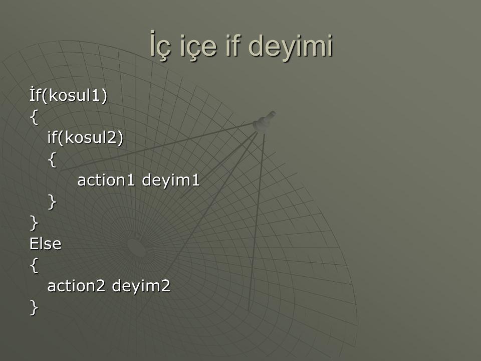 İç içe if deyimi İf(kosul1) { if(kosul2) action1 deyim1 } Else