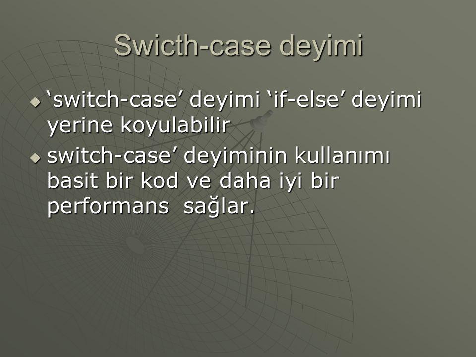 Swicth-case deyimi 'switch-case' deyimi 'if-else' deyimi yerine koyulabilir.