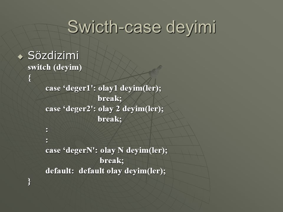 Swicth-case deyimi Sözdizimi switch (deyim) {