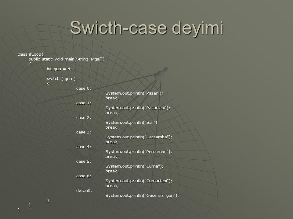 Swicth-case deyimi class ifLoop{