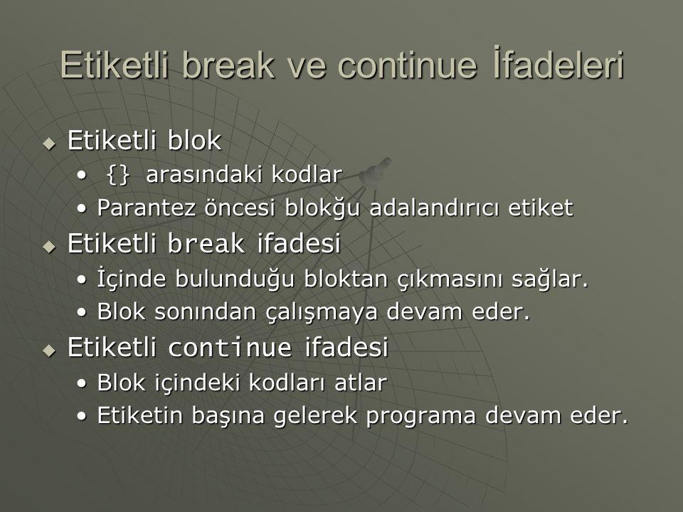 Etiketli break ve continue İfadeleri