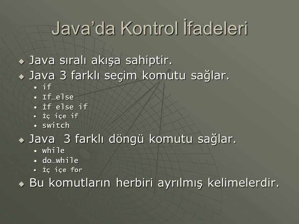 Java'da Kontrol İfadeleri