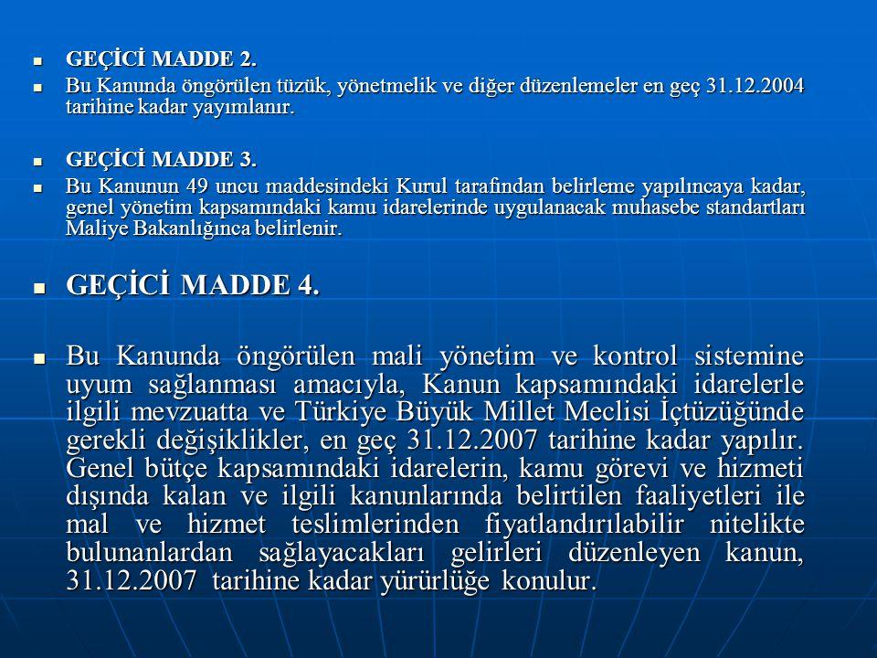 GEÇİCİ MADDE 2. Bu Kanunda öngörülen tüzük, yönetmelik ve diğer düzenlemeler en geç 31.12.2004 tarihine kadar yayımlanır.