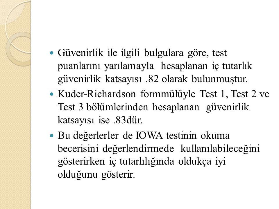 Güvenirlik ile ilgili bulgulara göre, test puanlarını yarılamayla hesaplanan iç tutarlık güvenirlik katsayısı .82 olarak bulunmuştur.