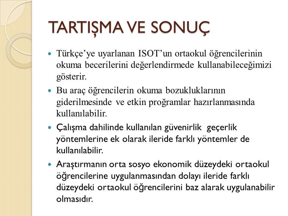 TARTIŞMA VE SONUÇ Türkçe'ye uyarlanan ISOT'un ortaokul öğrencilerinin okuma becerilerini değerlendirmede kullanabileceğimizi gösterir.