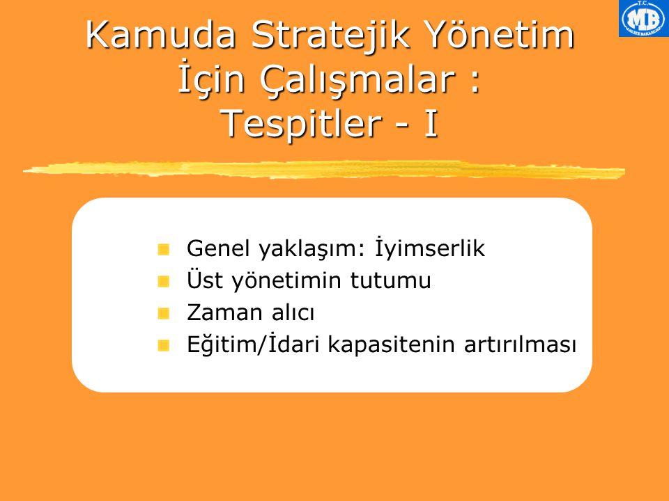 Kamuda Stratejik Yönetim İçin Çalışmalar : Tespitler - I