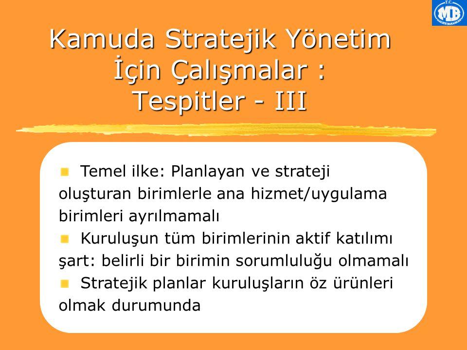 Kamuda Stratejik Yönetim İçin Çalışmalar : Tespitler - III
