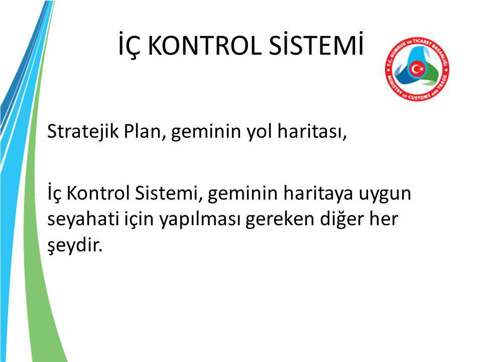 İÇ KONTROL SİSTEMİ Stratejik Plan, geminin yol haritası,