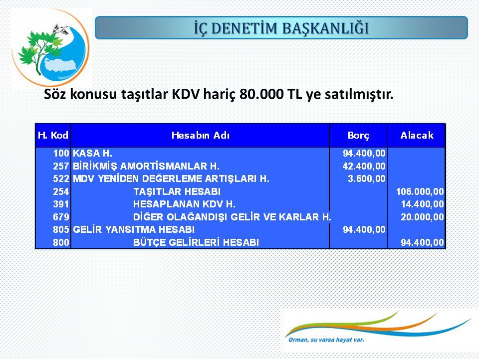 Söz konusu taşıtlar KDV hariç 80.000 TL ye satılmıştır.