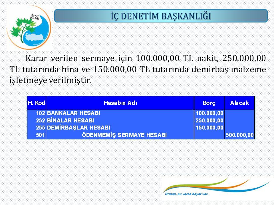 Karar verilen sermaye için 100. 000,00 TL nakit, 250