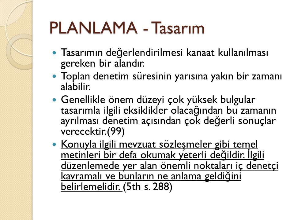 PLANLAMA - Tasarım Tasarımın değerlendirilmesi kanaat kullanılması gereken bir alandır.