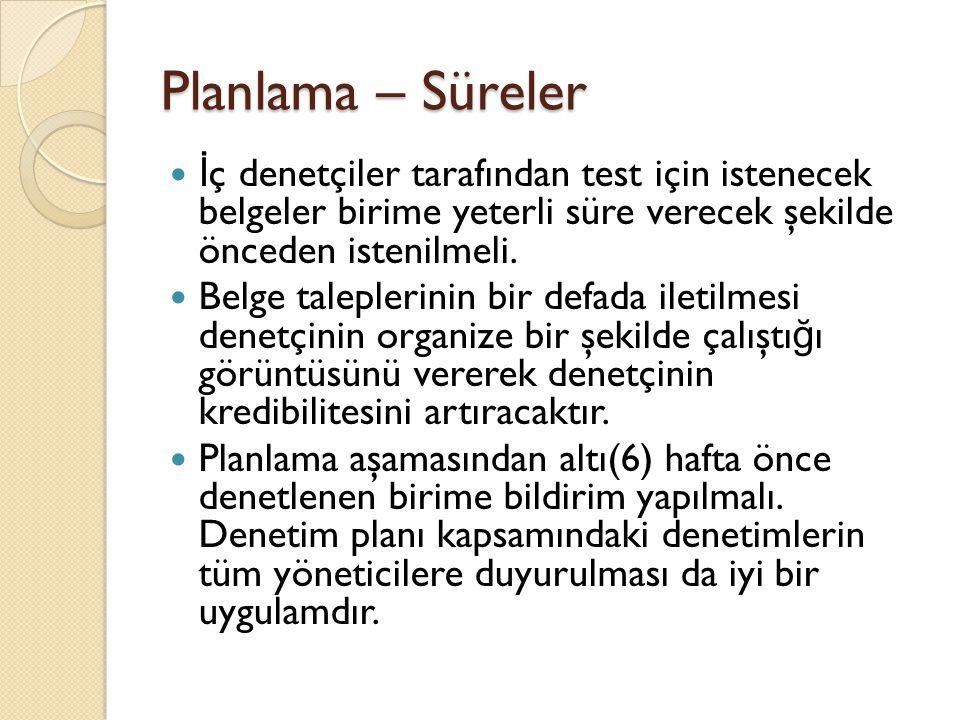 Planlama – Süreler İç denetçiler tarafından test için istenecek belgeler birime yeterli süre verecek şekilde önceden istenilmeli.